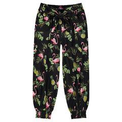 Χυτό παντελόνι σε στυλ σαλβάρι με εμπριμέ εξωτικό μοτίβο