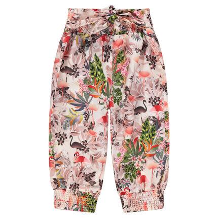 Κοντό φαρδύ παντελόνι με φλοράλ μοτίβο