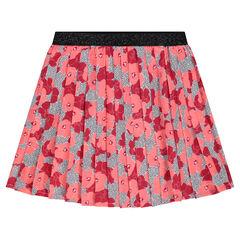 Κρεπ πλισέ φούστα με φλοράλ μοτίβο