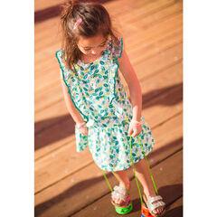 Φόρεμα με φύλλα σε όλη την επιφάνεια και βολάν στα μανίκια