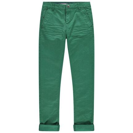 Παιδικά - Πράσινο βαμβακερό παντελόνι με λοξές τσέπες