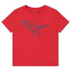 Κόκκινη κοντομάνικη μπλούζα με στάμπα δεινόσαυρο