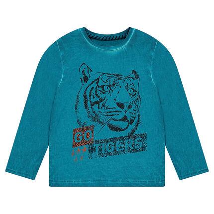 Μακρυμάνικη μπλούζα νηματοβαφή με τυπωμένη τίγρη