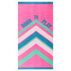 Πετσέτα θαλάσσης από πετσετέ ύφασμα με λωρίδες σε χρώμα που κάνει αντίθεση