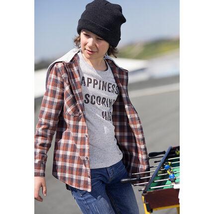 Παιδικά - Μακρυμάνικο πουκάμισο καρό από φανέλα με κουκούλα
