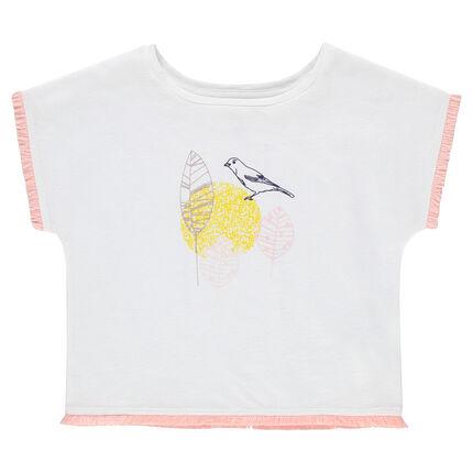 Κοντομάνικη μπλούζα με φαντεζί τελειώματα και τύπωμα