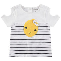 Κοντομάνικη ζέρσεϊ μπλούζα με άνοιγμα στους ώμους και μπουκλέ μοτίβο λεμόνι