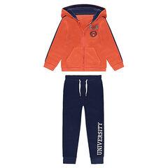 Φόρμα από φανέλα με πορτοκαλί ζακέτα με κουκούλα και ναυτικό μπλε παντελόνι