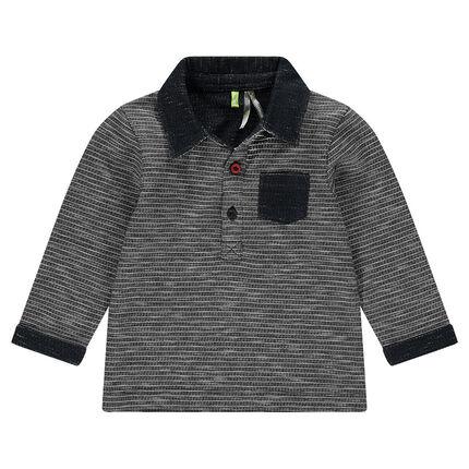 Μακρυμάνικη μπλούζα πόλο σε πλεκτή ύφανση με εξωτερική τσέπη