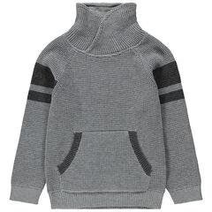 Χοντρό πλεκτό πουλόβερ με λαιμό ζιβάγκο και λωρίδες σε αντίθεση