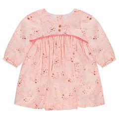 Μακρυμάνικο εμπριμέ φόρεμα με μοτίβο αστέρια