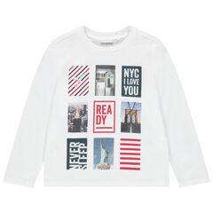 Μακρυμάνικη μπλούζα από βιολογικό βαμβάκι με φαντεζί διακοσμητικό μοτίβο
