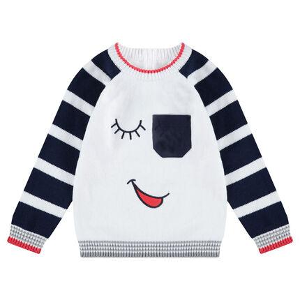 Πλεκτό πουλόβερ με κεντημένες λεπτομέρειες και πλακέ τσέπη