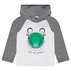 Μακρυμάνικη μπλούζα με κουκούλα και στάμπα μαϊμού
