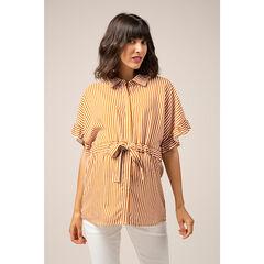 Κοντομάνικο πουκάμισο εγκυμοσύνης με κάθετες ρίγες σε όλη την επιφάνεια