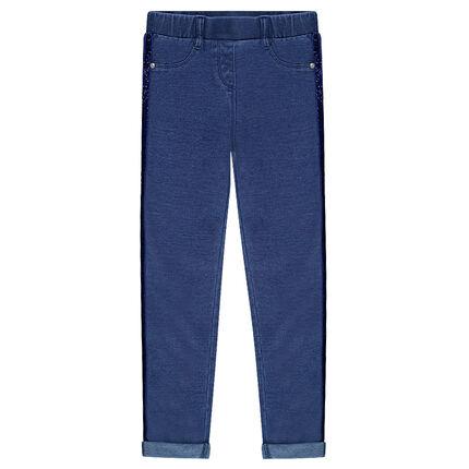 Παιδικά - Εφαρμοστό παντελόνι-κολάν με λωρίδα από παγιέτες