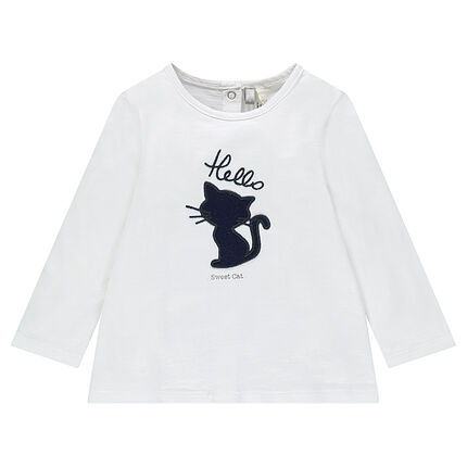 Tee-shirt manches longues avec patch chat