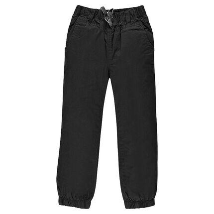 Pantalon en popeline doublé jersey
