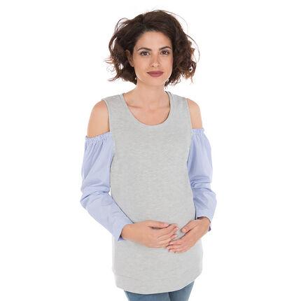 Μακρυμάνικη μπλούζα 2 σε 1 με ακάλυπτους ώμους