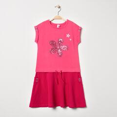 Κοντομάνικο φόρεμα 2 σε 1 με λουλούδι από πούλιες
