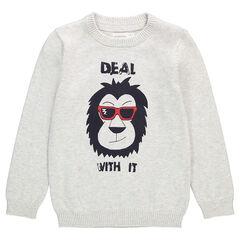 Πλεκτό μονόχρωμο πουλόβερ με τυπωμένο ζωάκι μπροστά