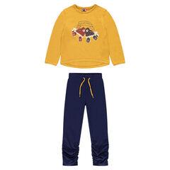 Παιδικά - Σύνολο φόρμας από φανέλα με διακοσμητική στάμπα