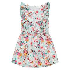 Φόρεμα με βολάν στα μανίκια και φλοράλ μοτίβο