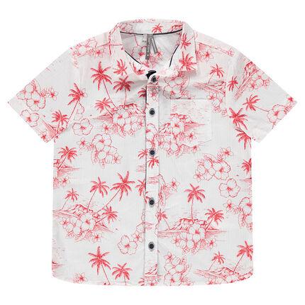 Κοντομάνικο πουκάμισο με κόκκινο εξωτικό μοτίβο