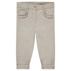 Μονόχρωμο παντελόνι με τσέπη σε φόρμα καρδιάς και βολάν