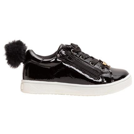 Αθλητικά παπούτσια λουστρίνι με φουντίτσα και χρυσαφί αστέρι