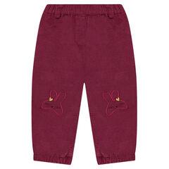 Παντελόνι βελουτέ με επένδυση φλις και κεντημένα κουνελάκια