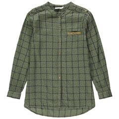 Παιδικά - Μακρυμάνικο καρό πουκάμισο με τσέπη κεντημένη με πούλιες