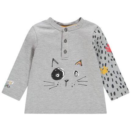 Μακρυμάνικη μπλούζα με στάμπα γάτα και εμπριμέ μανίκι