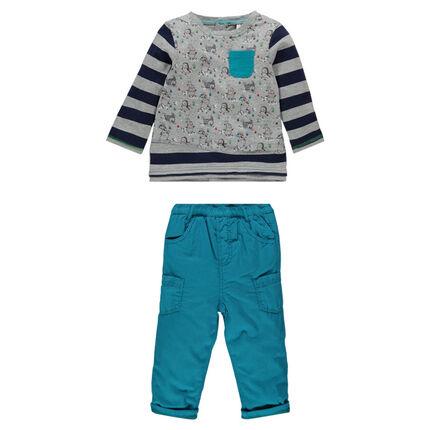Σύνολο με μπλουζάκι με σχέδιο πιγκουίνων και πάνινο παντελόνι