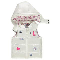 Αμάνικο μπουφάν με περλέ όψη, με αφαιρούμενη κουκούλα και σήματα