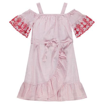 Παιδικά - Φόρεμα με άνοιγμα στους ώμους και κρουαζέ φύλλα και δαντέλα