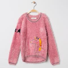 Pull en tricot poil motif licorne et étoiles