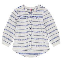 Χυτό πουκάμισο με έθνικ κέντημα