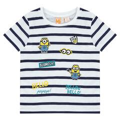 Κοντομάνικη μπλούζα ριγέ με στάμπα Les Minions