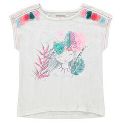 Κοντομάνικη μπλούζα από ζέρσεϊ με τύπωμα πριγκίπισσα και πον-πον