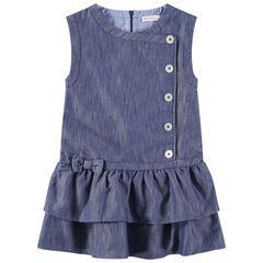 Αμάνικο φόρεμα με κούμπωμα και βολάν