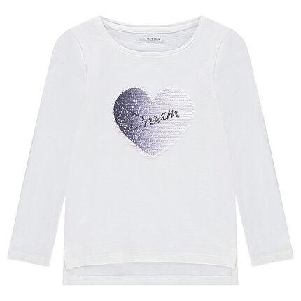 Μακρυμάνικη ζέρσεϊ μπλούζα με καρδιά από μαγικές πούλιες