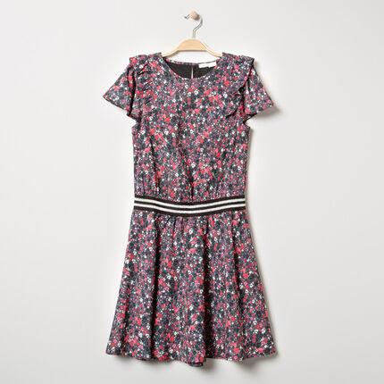 Παιδικά - Κοντομάνικο φόρεμα με λουλούδια και ριγέ λάστιχο στη μέση
