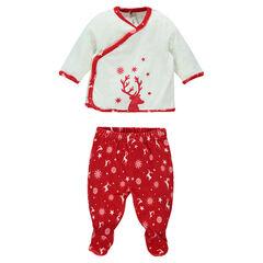 Πιτζάμες από βελούδο ειδικά για τα Χριστούγεννα για ηλικίες από τη γέννηση έως τους 3 μήνες