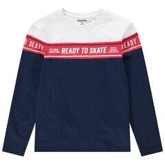 Παιδικά - Μακρυμάνικη μπλούζα από βιολογικό βαμβάκι με εμπριμέ λωρίδα μπροστά