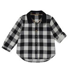 Μακρυμάνικο καρό πουκάμισο με μονόχρωμο γιακά