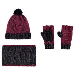 Πλεκτό σύνολο σκούφος με κέντημα ©Smiley, γάντια και κυλινδρικό κασκόλ