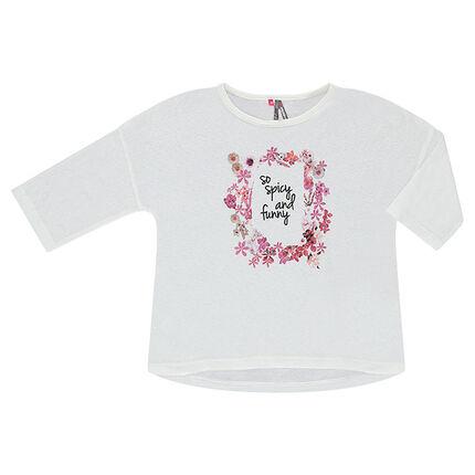 Μπλούζα με μανίκια 3/4 και φλοράλ μοτίβο