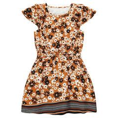 Παιδικά - Κοντομάνικο φόρεμα με βολάν και λουλούδια σε όλη την επιφάνεια