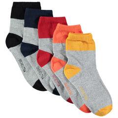 Σετ 5 ζευγάρια κάλτσες με μύτη και φτέρνα σε αντίθεση